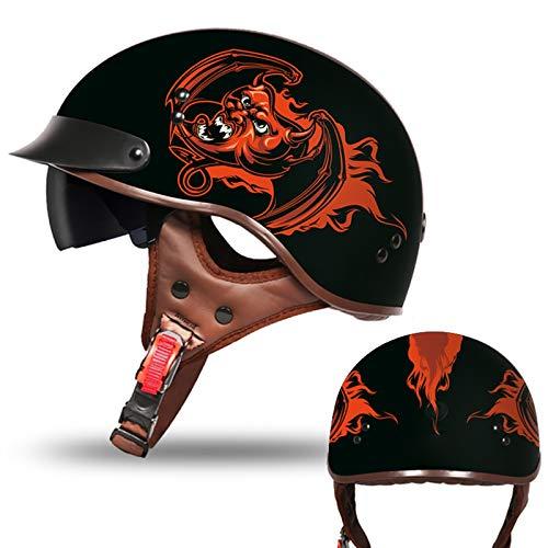 Casco Moto Abierto Hombre Mujer ECE Homologado Cascos Moto Half Helmet con Visera Retro Casco Moto Jet para Scooter Mofa Crash (Color : E, Size : (L/59-60CM))