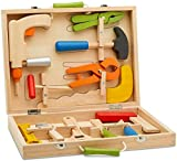 Top Race 10 Piece Tool Box, Solid Wood Tool Box with Colorful Wooden Tools,...
