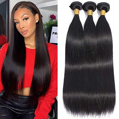 Brazilian Straight Human Hair Bundles 10A Virgin Hair Straight Bundles 100% Unprocessed Remy Straight Hair Weave 3 Bundles (14 16 18 Inch)
