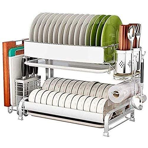 WXX 2-Tier Geschirrabtropfgestell Edelstahl Geschirrtrockner Mit Abnehmbarem Besteckkorb Und Abtropfschale Abtropfgestell Für Küche Arbeitsplatte