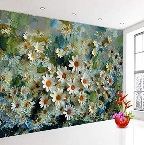 Fototapete Weißes Gänseblümchen 3D Vlies Tapete Moderne Art Wanddeko Design Tapete Wandtapete Wand Wohnzimmer Dekoration,140x100 cm(W x H)