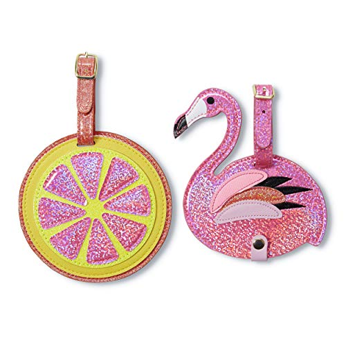 Tri-Coastal Design - Set of 2 Eco Leather Luggage Tags with Glitter Details for Women - Always Recognize Your Suitcase (Flamingo)