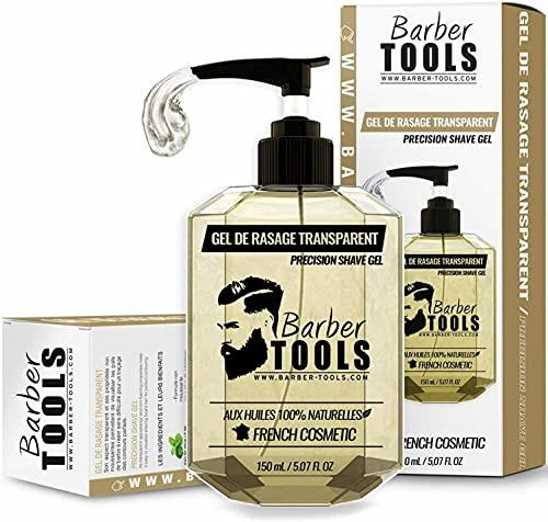 ✮ BARBER TOOLS ✮ Gel de afeitado transparente de 150 ml - Para un afeitado preciso de los contornos de la barba (visibilidad, deslizamiento y máxima protección) - MADE IN FRANCE