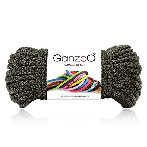 Paracord 550 Corde Diamond pour Bracelet, Laisse et Collier 100% Nylon 30 m Vert foncé/Noir