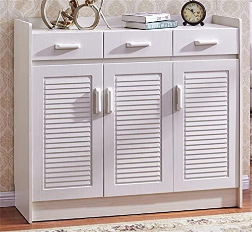Shoe rack Armario de porche blanco simple Louvier armario de sala de estar, zapatero europeo, simple moderno, ultrafino, de gran capacidad, para ahorrar espacio FANJIANI (tamaño: 118 x 32 x 102 cm)