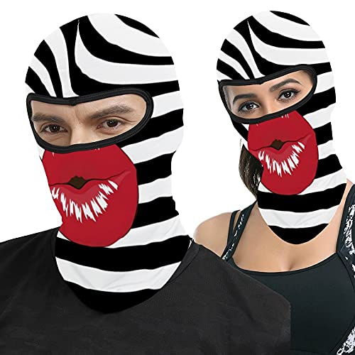 Kiss Lips Fashion Beauty Glamour Trendy Red Zebra Full Face Ma-sk Hood Outdoor Tactical Headcover Riding Motorcycle Mask Hunting Fishing Windproof Sunscreen