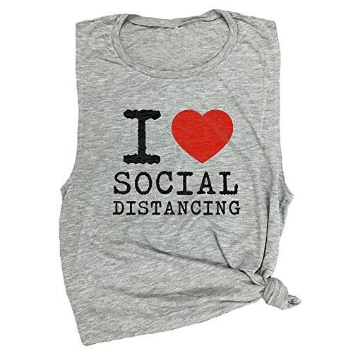 Spunky Pineapple I Heart Social Distancing Funny Quarantine Workout Muscle Tee Light Grey
