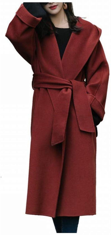 Coat Jacket, Woolen Coat, Women's Long Hooded Woolen Coat in Autumn and Winter, Loose and Thin Lace Woolen Coat PLLP