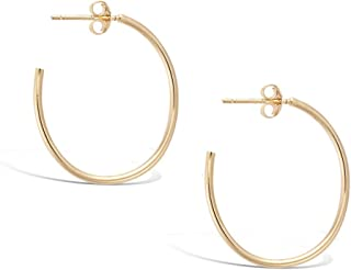Sterling Silver High Polished Yellow//Rose Gold Flashed Round-Tube Click-Top Hoop Earrings Small /& Medium Choose Your Size and Color