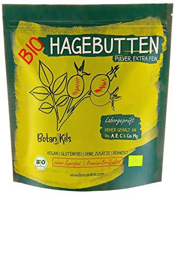 Bio Hagebuttenpulver 1kg (1000g) Premium selektierte Hagebutten, Natürliche Vit. A, E, C und Ca, Mg - Hochdosiert und Laborgepüft, 100% reines Superfood - vegan, glutenfrei, extra fein - BotaniKils