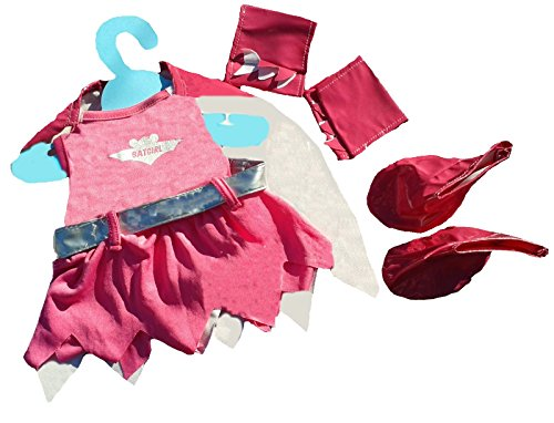 Bat Girl Outfit with Cape, Arm Bands, Boots & Silver Belt Fits Most 14'-18' Build-a-Bear & Make Your Own Stuffed Animals