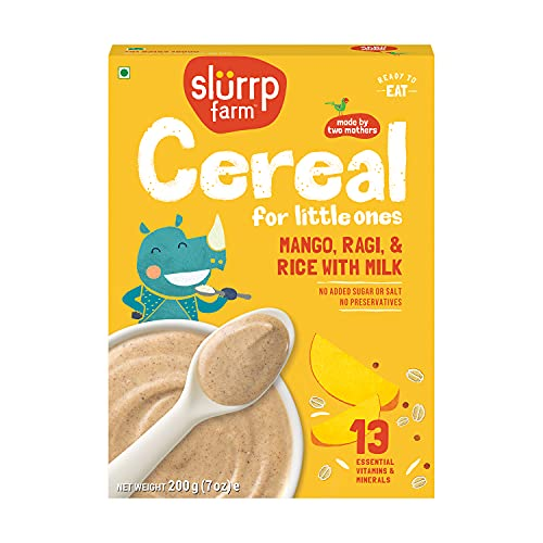 Slurrp Farm Baby Cereal, Ragi, Rice and Mango with Milk, Instant Healthy Wholesome Food for