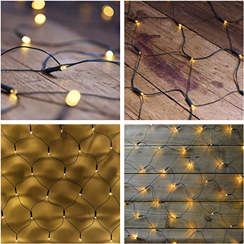 Solar Powered Mesh-Trap Light String 204LEDs Outdoor Sun-Powered Net Lights Warm White 32M Fairy Lights Wedding Garden Homing Patio Fetch Decorations Lighting Wedding Events Light