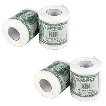 Forum Novelties Money Toilet Paper Rolls Bathroom Tissue Novelty 100 Dollar Bills - Pack of 4