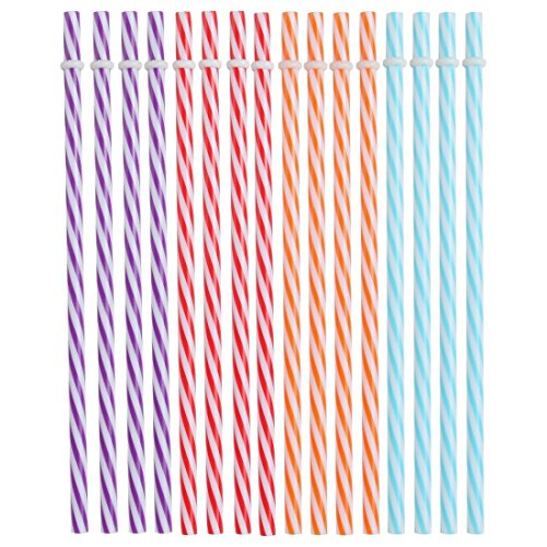 Lily's Home Reusable and Washable Straight Plastic Stripey Drinking Straws, Safe and BPA-Free, Use for Smoothies, Milkshakes, Lemonade, Iced Coffee, or Mason Jar Drinks, Bright Colors (Pack of 16)