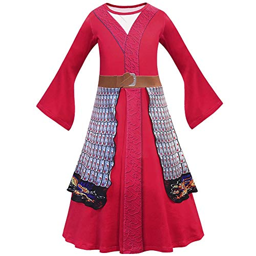 ZHANGY Filme Halloween Kind Hua Mulan Kostüm Weihnachtsmädchen Mulan Kleid Kinder Traditionelle Chinesische Kleidung Mulan,Rot,130cm