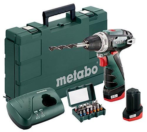 Metabo 600080920 Akku-Bohrschrauber klein PowerMaxx BS Basic Set 10.8V, 2x 2Ah Li-Ion Akkus, inklu. Ladegerät, im Koffer, extra Bitset, max. Drehmoment: 17Nm (weich)/ 34Nm (hart)