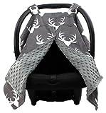 Dear Baby Gear Deluxe Car Seat Canopy, White Antlers, Grey Minky Dot