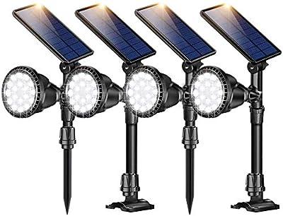 ROSHWEY Solar Spot Lights Outdoor, 18 LED Adjustable Waterproof Solar Landscape Lights Solar Spotlight Flood Lights for Garden Landscape Patio Porch Wall Deck Garage (Cool White,4Pack)