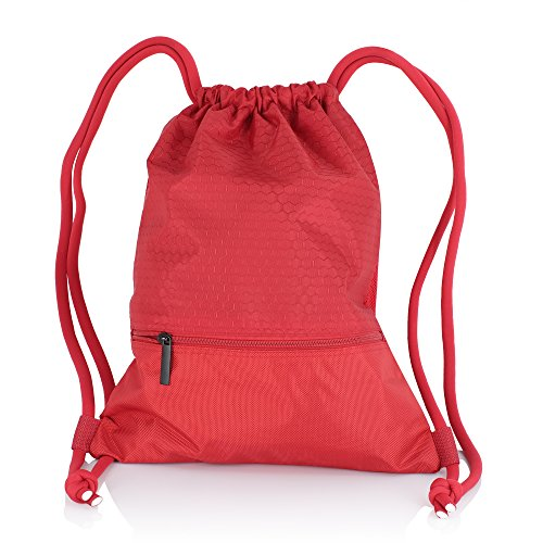 Zenwow Kordelzug Turnbeutel Wasserdicht Schwimmen Tasche PE Duffle Rucksack für Kinder Jungen Mädchen Reise Schulter Rucksack, Rot