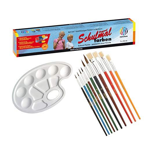 LUKAS Original Schulmalfarben, 7 Farben, 18ml (Schulmalfarben + Mischpalette + Pinsel)