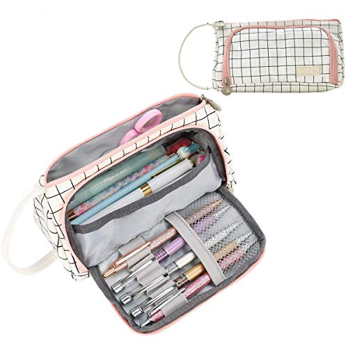 Large Capacity Pencil Case, Colored Canvas Storage Pouch Marker Pen Pencil Case Stationery Bag Holder for Middle High School Office College Student Girl Women Teen Christmas Gift (White Plaid)