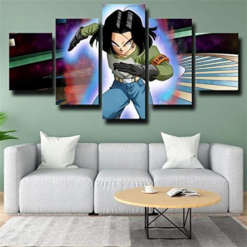 SESHA Póster De Lienzo 5 Piezas HD Arte De La Pared Impresa Decoración Dormitorio El Hogar Pintura De La Lona Foto El Dragon Ba Androide 17 Fuego Azul(Sin Marco)