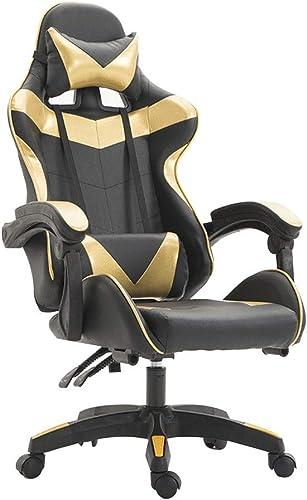 Bseack Drehstuhl E-Sport Stuhl, Spiel Sitz mit Armlehnen PU Leder Finish Farbe Passend Einfache Anker Computer Stuhl 5 Farben (Farbe   Gelb)