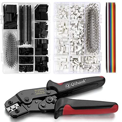 Qibaok Crimping Tool Kit Ratcheting Crimper with 1550PCS 2.54mm Dupont Connectors and 760pcs 2.54mm JST-XH Connectors for AWG 26-20(0.1-0.5mm²)