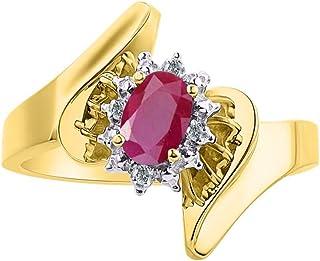 Diamond & Ruby Ring Set in 14K Yellow Gold