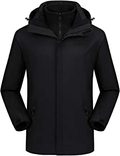 CAMEL CROWN Men's Ski Jacket 3 in 1 Waterproof Winter Jacket Snow Jacket Windproof Hooded with Inner Warm Fleece Jacket