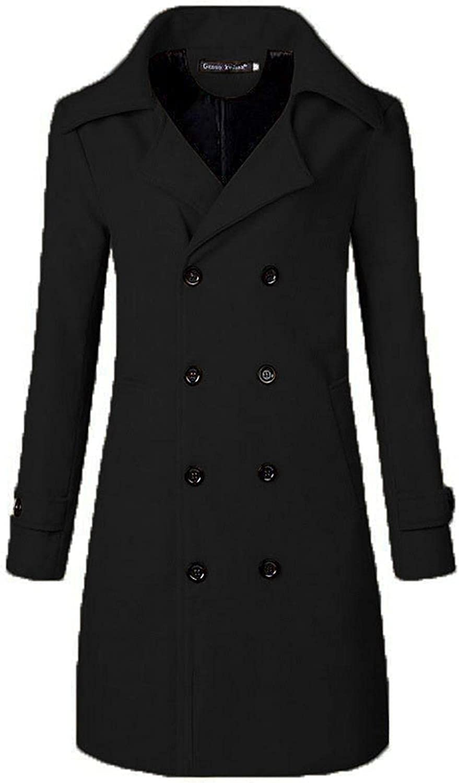 Beshion Men Trench Coat Long Jacket Double Breasted Overcoat Cotton Winter Hoodie Slim Fit Overcoat Jacket