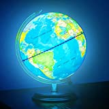 TTKTK Illuminated World Globe Rewritable with Wooden Stand,Built in LED for Illuminated Night View Globe lamp for Kids Home Décor and Office Desktop(Contains pen and Cleaning Cloths)