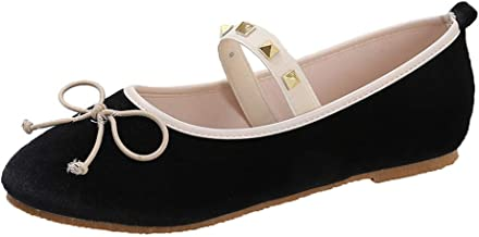 QueenMM🍀 Women's Comfortable Bow Point Toe Flat Pumps Slip-On Shoes Chelsea Demi-Wedge Dress Shoe