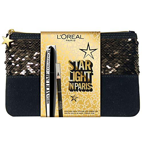 L'Oréal Paris Pochette Idea Regalo 2 Pezzi, Mascara Volumizzante Mega Volume Collagene e Matita Occhi Formato Viaggio Superliner Le Khol