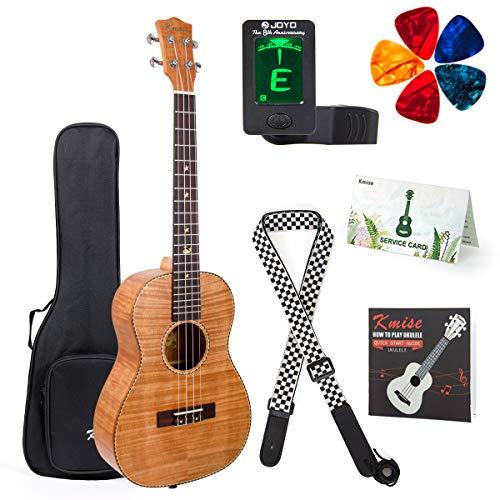 Bariton-Ukulele, 76,2 cm, 4-saitige Gitarre mit Ukulele-Plektren, Gurt, Tuner, G-C-E-A Saite (Okoume Oberseite Rückseite)