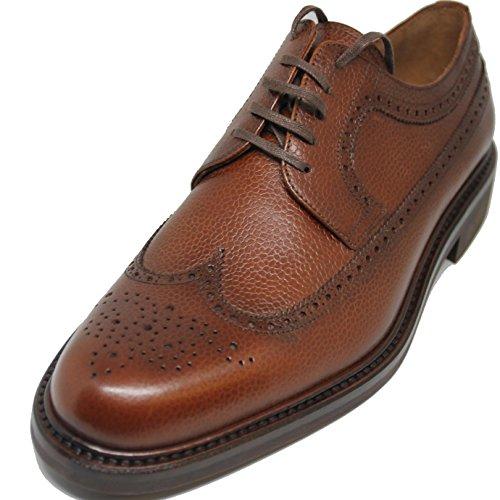 Zapato de Cordones Pala Vega,Totalmente Hecho a Mano,Piel de Becerro Grabado de Primera Calidad,Color Cuero (9.5)