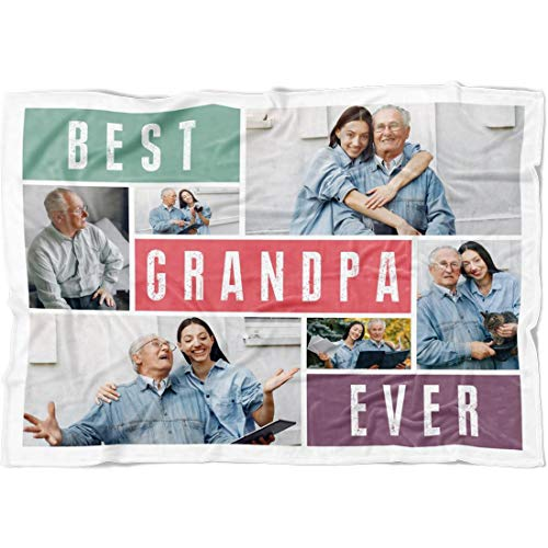 "Personalized Best Grandpa Grandma Ever Blanket, Add Photos To Custom Grandmother Grandfather Gifts For Women Men. Nana Gift from Grandchildren Grandkids on Christmas Birthday (Grandpa, Fleece 50""x60"")"