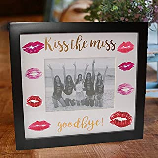 Kiss The Miss Goodbye Picture Frame Bachelorette Bridal Shower keepsafe Bride to Be Wedding Gifts Guest Book (Black)