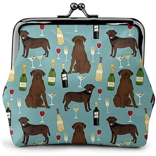 Labrador Retriever Festliche Champagner Glas Vintage Pouch Girl Kiss-Lock Portemonnaie Geldbörsen Schnalle Leder Geldbörsen