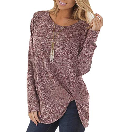 Derrick Aled(k) zhuke Women's Long-Sleeved T-Shirt Autumn Winter Twisted Top Round Neck Solid-Color Casual