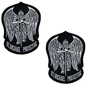 St Saint Michael Protect Us Embroidered Morale Patch Tactical Military Army Operator Patches with Hook and Loop Fasteners Backing 3.54 x 4.72 inches