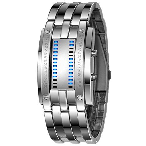 ODETOJOY Lava Eisen Samurai Metall LED Faceless Digital Edelstahl Armbanduhren Armbanduhr für Männer Frauen Armband Armreif Armbanduhr