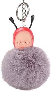 Sanwooden Cute Keychain Ornament Elegant Baby Bee Sleep Fluffy Ball Keychain Car Key Ring Pendant Handbag Bag Gift Girl Fashion Accessories