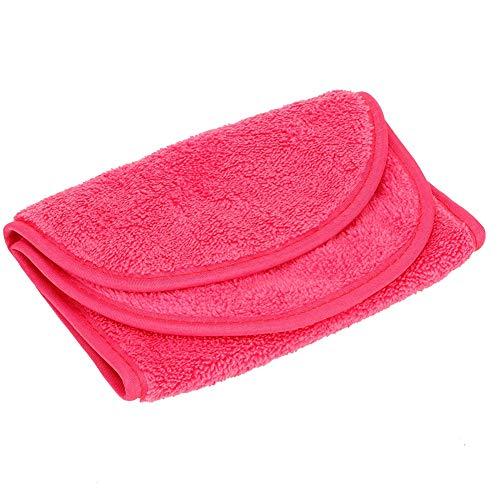 Paño removedor de maquillaje, rojo rosa multifuncional 15 X 6.3 pulgadas Paño facial de microfibra agradable para la piel para maquillaje para desmaquillador