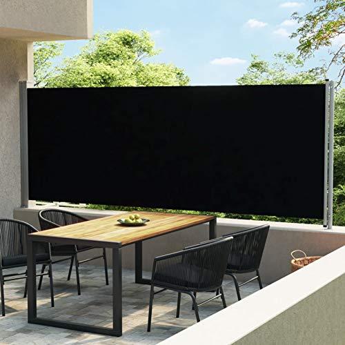 Galapara Ausziehbare Seitenmarkise,Seitenmarkise Start Sichtschutz Sonnenschutz für Balkon, Terrasse, Garten 600x170 cm Schwarz