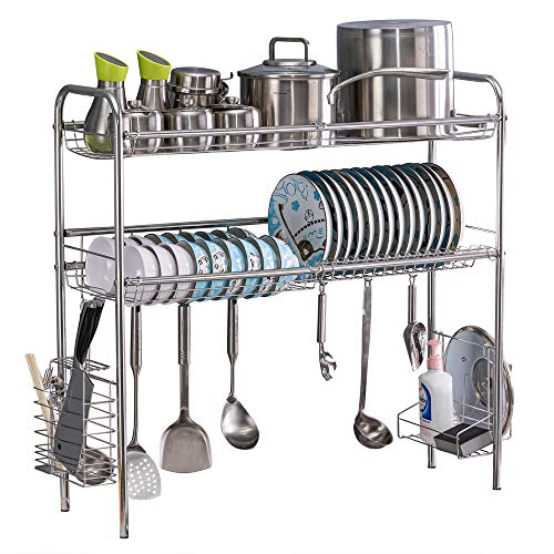 Bonnlo Over Sink Dish Drying Rack, 1/ 2 Tier Stainless Steel Anti-Rust Above Sink Shelf Dish Drainer w/ Utensil Holder for Kitchen Counter (Silver-2 Tier)