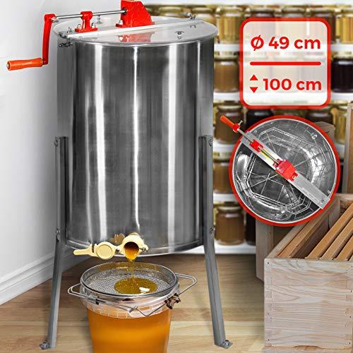 Honigschleuder - aus Edelstahl, manuell, für 4 Waben 24 x 42 cm, mit Deckel - Honig Extraktor, Schleuder, Tangentialschleuder, Honey Extractor, Imker und Bienenzüchter Zubehör