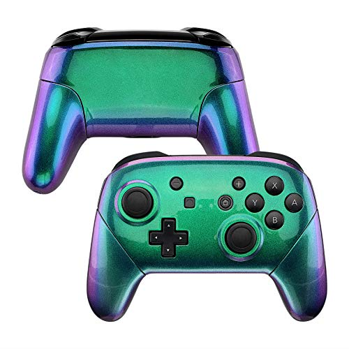 eXtremeRate Chameleon Faceplate Backplate Handles for Nintendo Switch Pro Controller, Green Purple DIY Replacement Grip Housing Shell Cover for Nintendo Switch Pro - Controller NOT Included