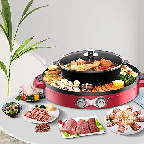 TOPQSC Elektrogrill und Hot Pot 44CM 2 in1 Multifunktion Doppelte Trennung Korean Barbecue Hot Pot, Keramische Beschichtung Elektrischer Rauchfreier Grill im Innenbereich für einfache (Rot)